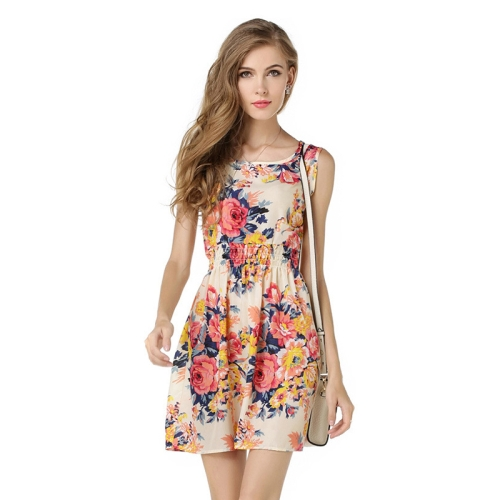 Women Summer Sleeveless Vest Dress Printing Pattern Floral Skirt , Size: S