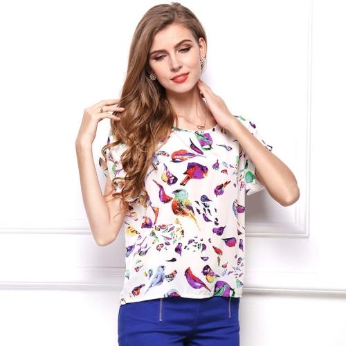 Fashion Women Summer Printing Bird Pattern Short Sleeves Chiffon Shirt Loose Top , Size: S