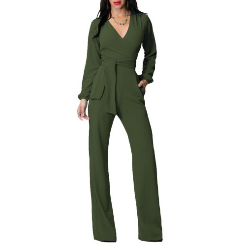 Buy Women V Collar Solid Color Lady Slim Fit Jumpsuit One-piece Long Pants Casual Siamese Pants High Waist Tie Rompers, Size: L (Army Green) for $8.41 in SUNSKY store