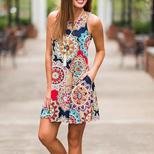 Summer Ladies Sleeveless Hedging Folk-custom Printing Pattern Short Dress Women Casual Dress, Size: S(Dark Blue)
