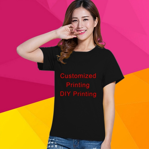 Unisex Cotton Blank Round Neck Short Sleeve Solid Color Slim Tops Advertising T-shirt, (Receive Pictures Customization), Size: S(Black)