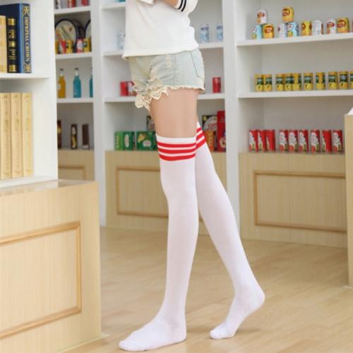 Woman Red Stripe Over Knee High Stockings Long Athletic Sport Tube Socks, Length: 60cm