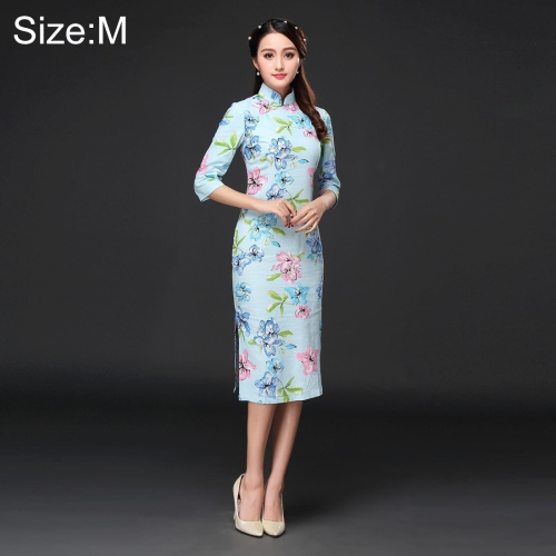 Buy Woman Temperament Fashion Pear Blossom Pattern Retro Line Long-style Cheongsam, Size: M for $12.52 in SUNSKY store