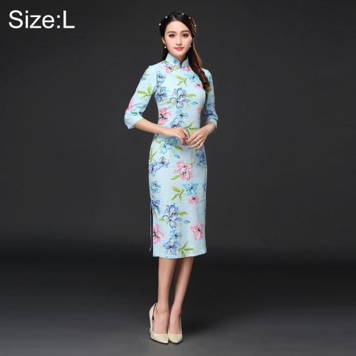 Buy Woman Temperament Fashion Pear Blossom Pattern Retro Line Long-style Cheongsam, Size: L for $12.53 in SUNSKY store