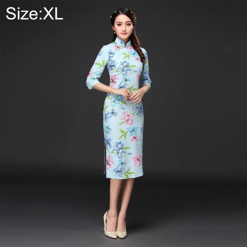 Buy Woman Temperament Fashion Pear Blossom Pattern Retro Line Long-style Cheongsam, Size: XL for $12.53 in SUNSKY store