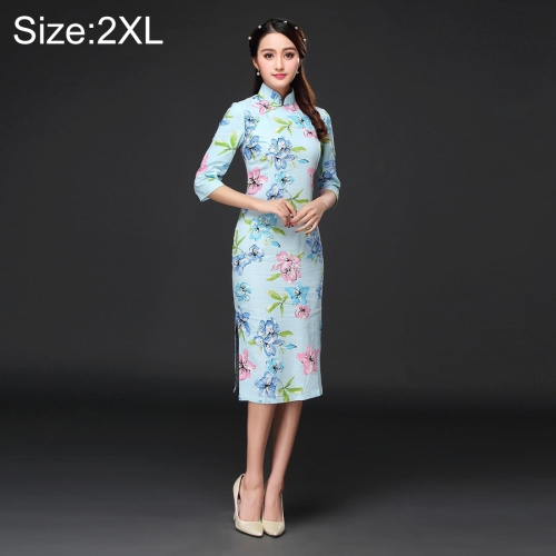 Buy Woman Temperament Fashion Pear Blossom Pattern Retro Line Long-style Cheongsam, Size: 2XL for $12.53 in SUNSKY store