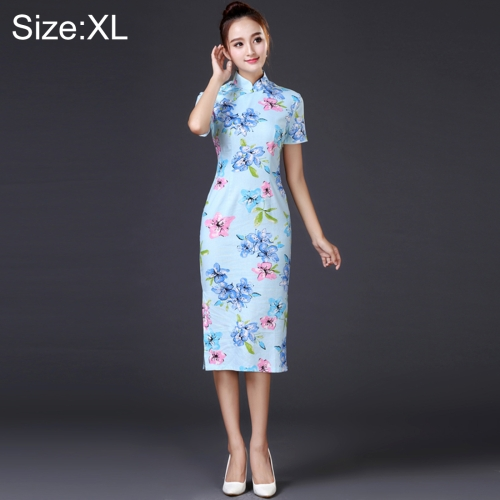 Buy Woman Temperament Fashion Water Blue Pear Blossom Pattern Retro Line Long-style Cheongsam, Size: XL for $12.52 in SUNSKY store