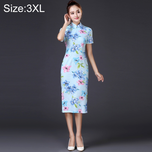 Buy Woman Temperament Fashion Water Blue Pear Blossom Pattern Retro Line Long-style Cheongsam, Size: 3XL for $12.54 in SUNSKY store