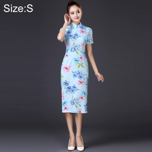 Buy Woman Temperament Fashion Water Blue Pear Blossom Pattern Retro Line Long-style Cheongsam, Size: S for $12.51 in SUNSKY store