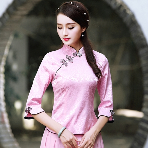 Woman Half Sleeve Embroidery Flower Print Jacquard Vintage Cheongsam Chinese Qipao Tops Blouse, Size: S