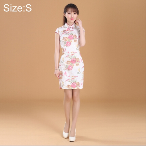 Buy Women Temperament Fashion Jasmine Flower Pattern Jacquard Cotton Short-style Cheongsam, Size: S for $8.08 in SUNSKY store