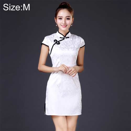 Buy Women Temperament Fashion Black and White Pattern Jacquard Cotton Short-style Cheongsam, Size: M for $8.09 in SUNSKY store