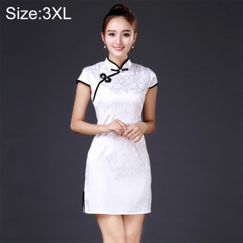 Buy Women Temperament Fashion The Black and White Pattern Jacquard Cotton Short-style Cheongsam, Size: 3XL for $8.13 in SUNSKY store