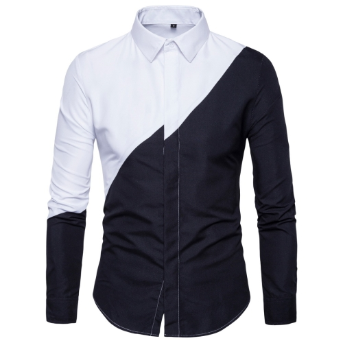 Men Black and White Stitching Long Sleeve Fashion Color Matching Shirt, Size: S