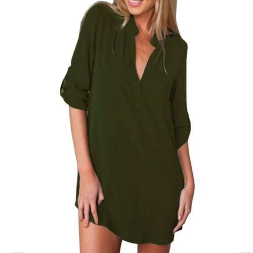 Women Fashion Autumn New Style V Collar Long Sleeved Loose Chiffon Shirt, Size: S(Army Green)