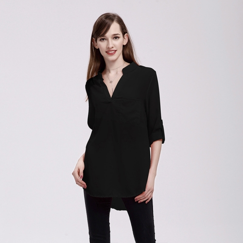Buy Women Fashion Europe and America V Collar Long Sleeved Loose Chiffon Shirt with Pocket, Size: S, Black for $5.02 in SUNSKY store