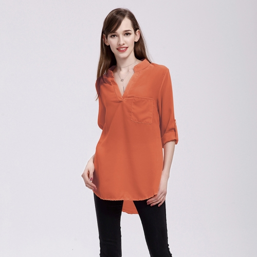 Buy Women Fashion Europe and America V Collar Long Sleeved Loose Chiffon Shirt with Pocket, Size: S, Orange for $5.02 in SUNSKY store