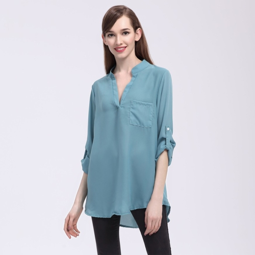 Buy Women Fashion Europe and America V Collar Long Sleeved Loose Chiffon Shirt with Pocket, Size: M, Blue for $4.20 in SUNSKY store