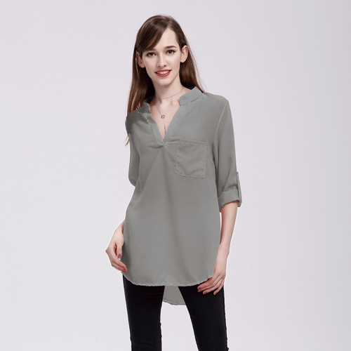Women Fashion Europe and America V Collar Long Sleeved Loose Chiffon Shirt with Pocket, Size: 2XL, Grey