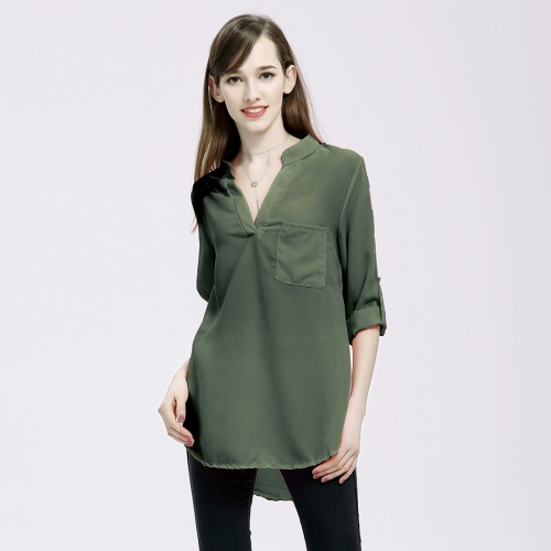 Women Fashion Europe and America V Collar Long Sleeved Loose Chiffon Shirt with Pocket, Size: 3XL (Army Green)