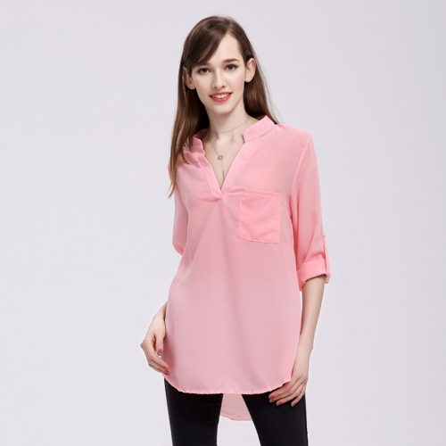 Buy Women Fashion Europe and America V Collar Long Sleeved Loose Chiffon Shirt with Pocket, Size: 3XL, Pink for $4.21 in SUNSKY store