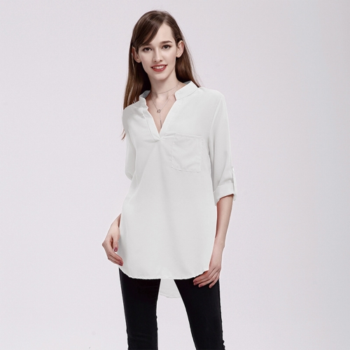 Buy Women Fashion Europe and America V Collar Long Sleeved Loose Chiffon Shirt with Pocket, Size: 4XL, White for $5.03 in SUNSKY store