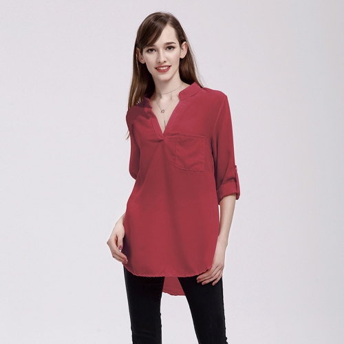 Buy Women Fashion Europe and America V Collar Long Sleeved Loose Chiffon Shirt with Pocket, Size: 5XL (Wine Red) for $5.03 in SUNSKY store