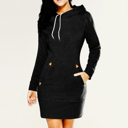 Women Fashion Europe and America Hooded High Collar Long Sleeved Sweater Dress, Size: S(Black)