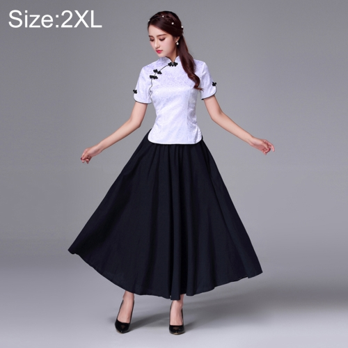 Buy Summer and Autumn Modified Retro Chinese-style Tang Han Embroidery Slim Fit Clothing Cheongsam Two-piece Suit, Size: 2XL, White for $20.58 in SUNSKY store