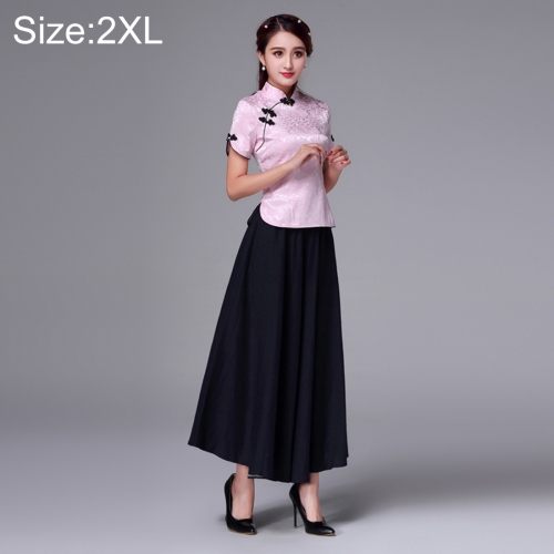 Buy Summer and Autumn Modified Retro Chinese-style Tang Han Embroidery Slim Fit Clothing Cheongsam Two-piece Suit, Size: 2XL, Pink for $20.59 in SUNSKY store