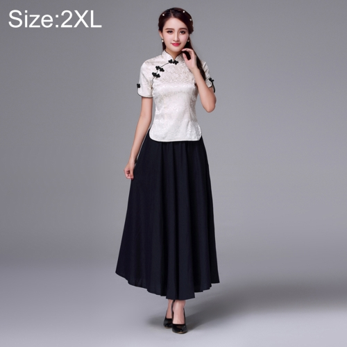 Buy Summer and Autumn Modified Retro Chinese-style Tang Han Embroidery Slim Fit Clothing Cheongsam Two-piece Suit, Size: 2XL, Apricot for $20.59 in SUNSKY store