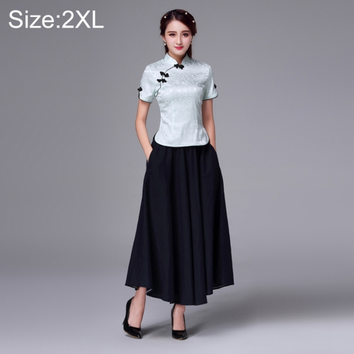 Buy Summer and Autumn Modified Retro Chinese-style Tang Han Embroidery Slim Fit Clothing Cheongsam Two-piece Suit, Size: 2XL, Blue for $20.59 in SUNSKY store