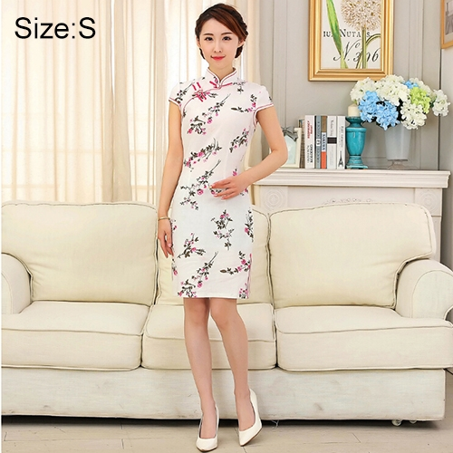 Buy Woman Short Sleeve Nepenthes Pattern Pattern Slim Above Knee Dress Sides Split Linen Cheongsam, Size: S for $11.11 in SUNSKY store