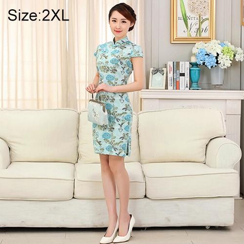Buy Woman Short Sleeve Fish Floral Pattern Slim Above Knee Dress Sides Split Linen Cheongsam, Size: 2XL for $10.13 in SUNSKY store