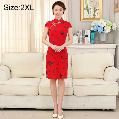 Buy Woman Short Sleeve Red Floral Pattern Slim Above Knee Dress Sides Split Linen Cheongsam, Size: 2XL for $10.13 in SUNSKY store