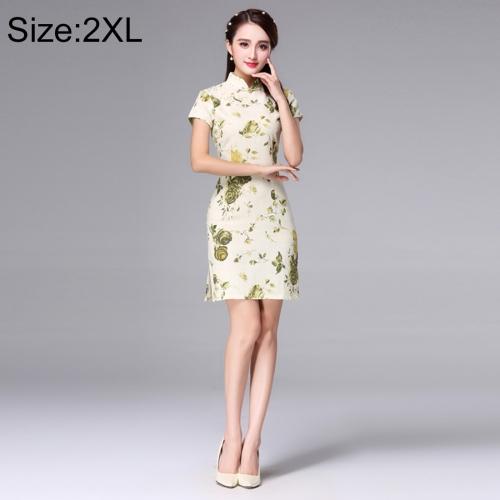 Buy Woman Short Sleeve Yellow Plum Pattern Slim Above Knee Dress Sides Split Linen Cheongsam, Size: 2XL for $10.14 in SUNSKY store