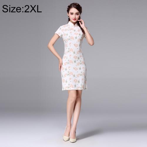 Buy Woman Short Sleeve Pink Floral Pattern Slim Above Knee Dress Sides Split Linen Cheongsam, Size: 2XL for $10.14 in SUNSKY store