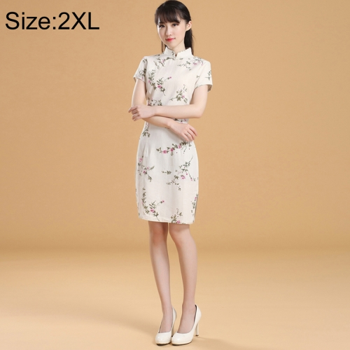 Buy Woman Short Sleeve Creamy-white Nepenthes Pattern Slim Above Knee Dress Sides Split Linen Cheongsam, Size: 2XL for $10.14 in SUNSKY store
