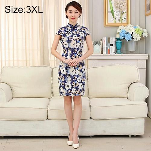 Buy Woman Short Sleeve Begonia Pattern Slim Above Knee Dress Sides Split Linen Cheongsam, Size: 3XL for $12.54 in SUNSKY store