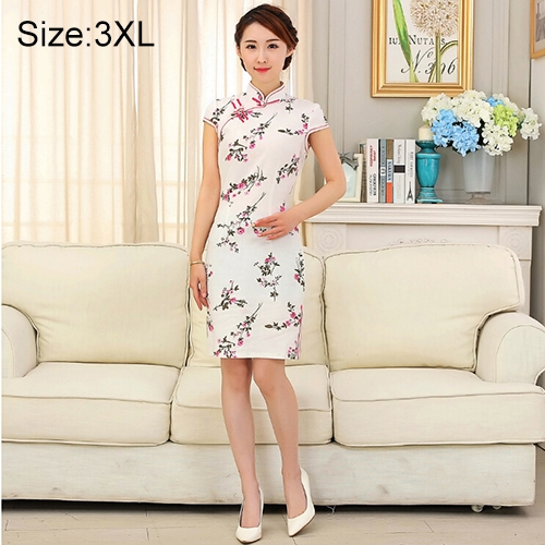 Buy Woman Short Sleeve Nepenthes Pattern Slim Above Knee Dress Sides Split Linen Cheongsam, Size: 3XL for $12.54 in SUNSKY store