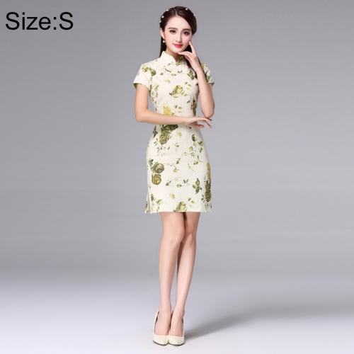 Buy Woman Short Sleeve Yellow Plum Pattern Slim Above Knee Dress Sides Split Linen Cheongsam, Size: S for $11.12 in SUNSKY store