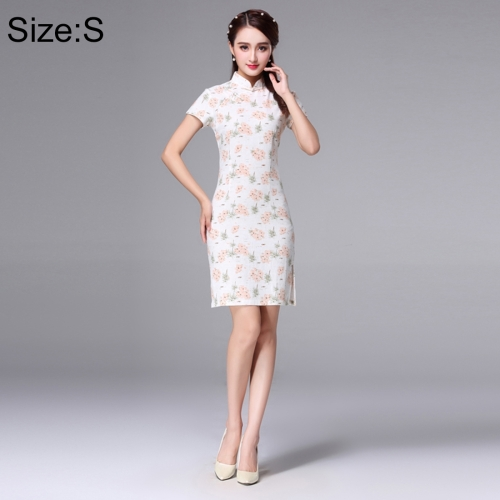 Buy Woman Short Sleeve Pink Floral Pattern Slim Above Knee Dress Sides Split Linen Cheongsam, Size: S for $11.12 in SUNSKY store