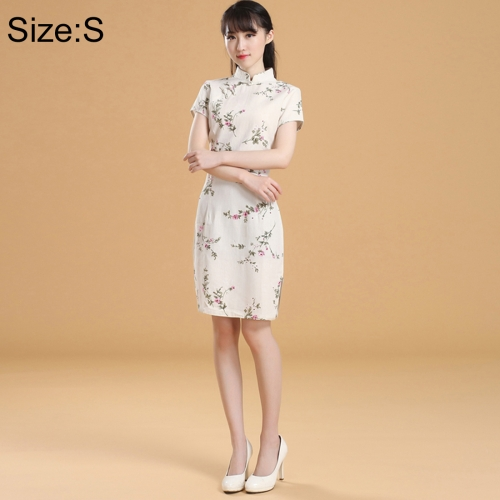 Buy Woman Short Sleeve Creamy-white Nepenthes Pattern Slim Above Knee Dress Sides Split Linen Cheongsam, Size: S for $11.12 in SUNSKY store