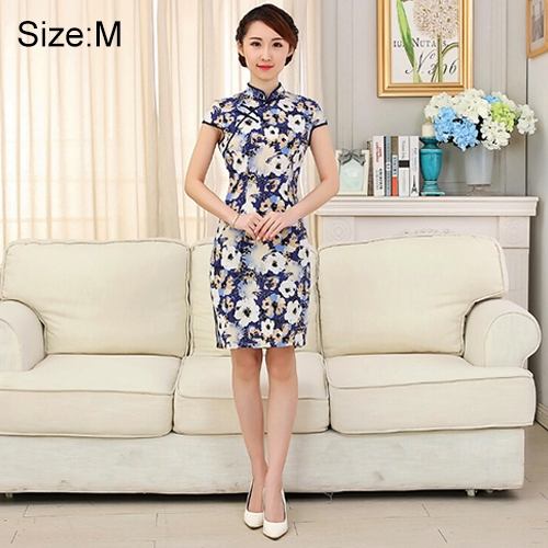 Buy Woman Short Sleeve Begonia Pattern Slim Above Knee Dress Sides Split Linen Cheongsam, Size: M for $10.12 in SUNSKY store