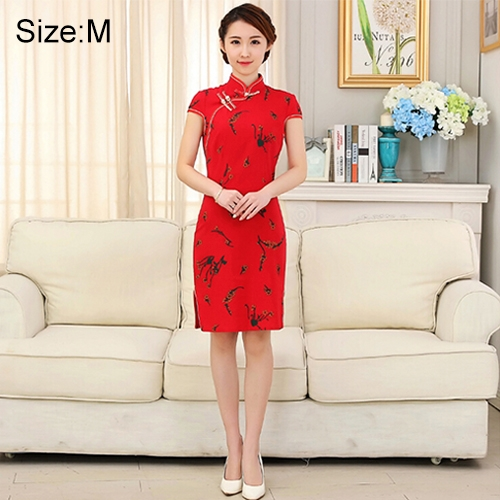 Buy Woman Short Sleeve Red Floral Pattern Slim Above Knee Dress Sides Split Linen Cheongsam, Size: M for $10.12 in SUNSKY store