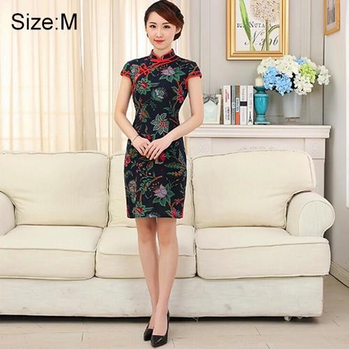 Buy Woman Short Sleeve Green Floral Pattern Slim Above Knee Dress Sides Split Linen Cheongsam, Size: M for $10.12 in SUNSKY store