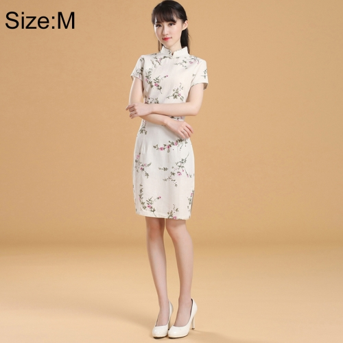 Buy Woman Short Sleeve Creamy-white Nepenthes Slim Above Knee Dress Sides Split Linen Cheongsam, Size: M for $10.11 in SUNSKY store