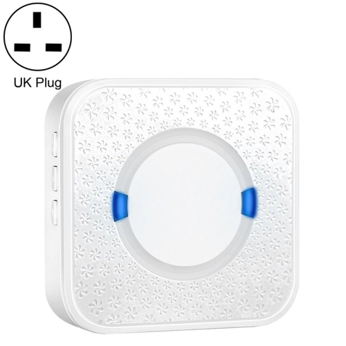 P6 110dB Wireless IP55 Waterproof Low Power Consumption WiFi Doing-dong Doorbell Receiver, Receiver Distance: 300m, UK Plug (White)