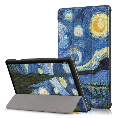 Coloured Drawing Pattern Horizontal Deformation Flip Leather Case for Lenovo Tab M10, with Three-folding Holder (Starry Sky Pattern)