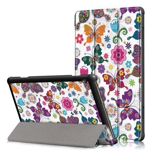Coloured Drawing Pattern Horizontal Deformation Flip Leather Case for Lenovo Tab M10, with Three-folding Holder (Butterfly Pattern)